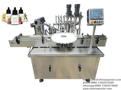 e liquid production line with cap sorting system 10ml bottle filler stopper capper equipment
