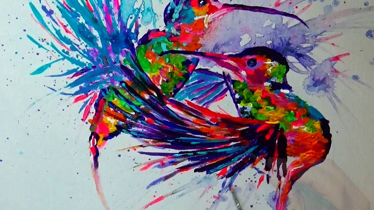 Abstract Hummingbirds: Flying for Love (Speed Painting in ...