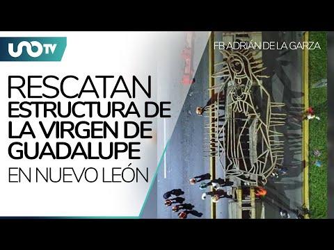 Rescatan estructura de Virgen de Guadalupe y hacen filas para venerarla