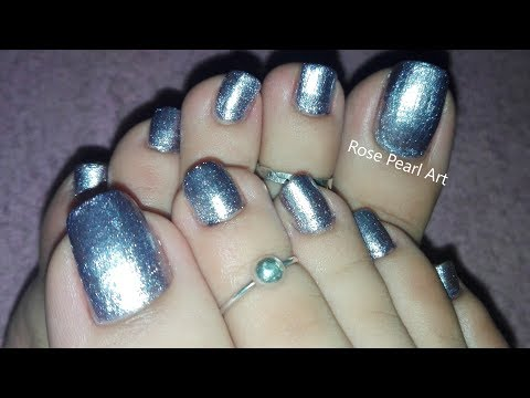 silver-pedicure-tutorial--how-to-do-pedicure-at-home-|-rose-pearl