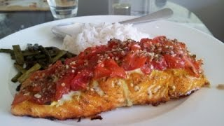 Tantalizing Baked Salmon Meal #1 - 'baby Tomato & Herb Crusted' With Rice And Roasted Asparagus