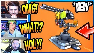 """STREAMERS REACT TO *NEW* """"MOUNTED TURRET"""" GUN! *LEGENDARY* Fortnite FUNNY & EPIC Moments"""