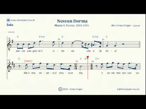 NESSUN DORMA - ( Sheet music, Lyrics, Chords, Karaoke )