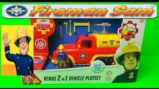 fireman sam venus fire engine water truck toy with working pump and sounds latest unboxing