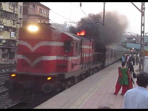 IRFCA - Luxury Train Maharaja Express !! Fire Eruption by JHS WDG3A !!