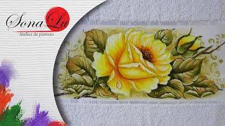 Rosa Amarela com Gota em tecido – Sonalupinturas
