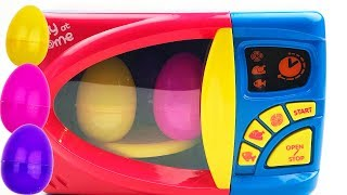 Learn Colors with Microwave and Surprise Eggs for Kids | Learning with Toy Cars and Kinder Toys