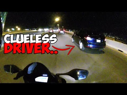dumb driver almost crashes HIS OWN car