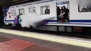 Fail Train driver sprays teenage graffiti artists with fire extinguisher