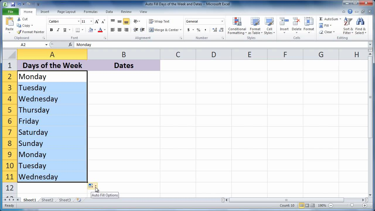 Excel 2010 - Auto Fill Days of the Week and Dates - YouTube