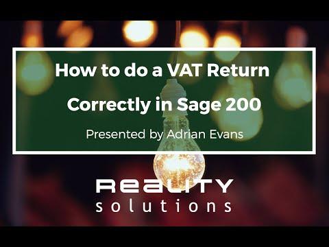 Sage 200 VAT Return - How To Do A VAT Return Correctly In Sage 200
