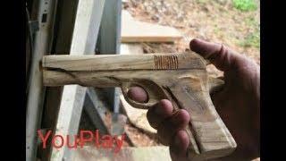 самый мощный пистолет , из дерева (своими руками)