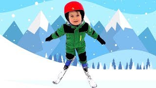 Outdoor Playtime Fun Winter Activities Kids Learning how to SKI Kid Skiing Pizza  Family Trip