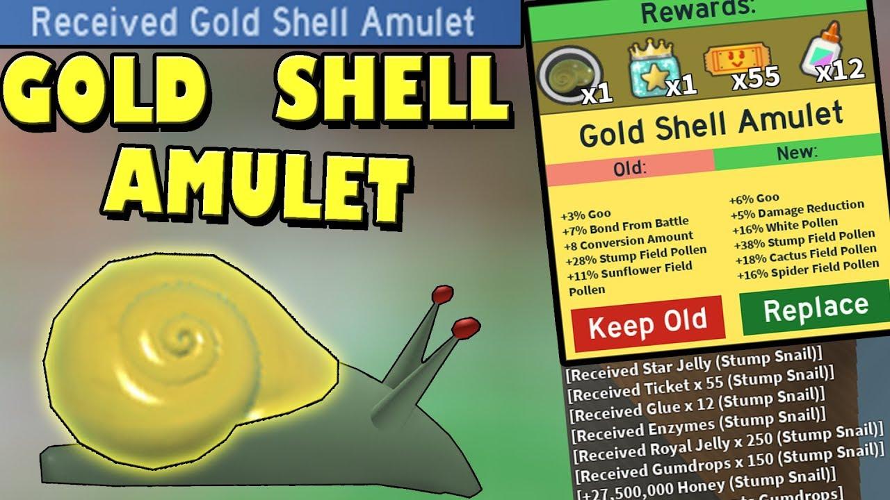 Gold Shell Amulet Unlocked Op Roblox Bee Swarm Simulator