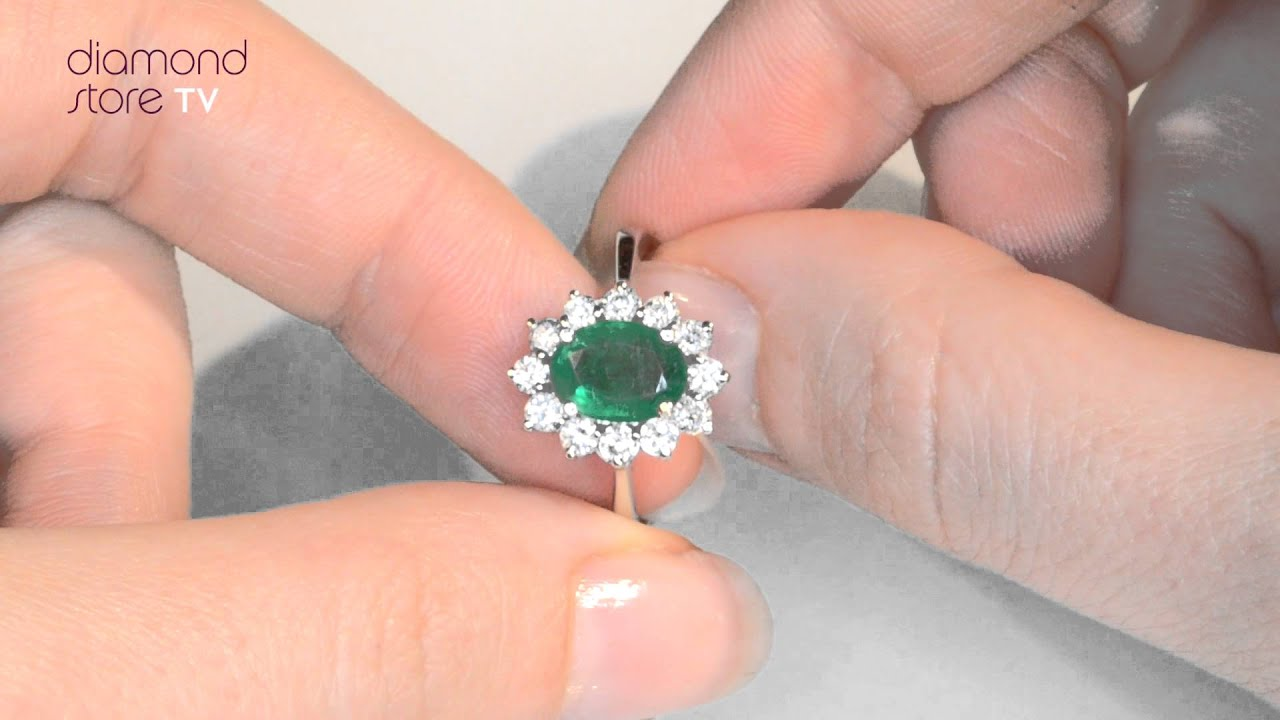 Diamond 0.50ct 18K White Gold Emerald 1.15ct Ring - FET26 gy - YouTube