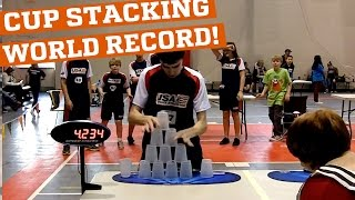 New cup stacking world record! (People are Awesome)