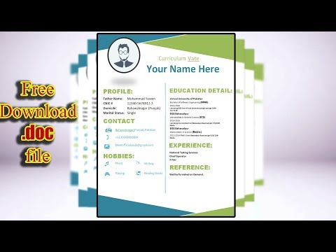 How to Create Perfect CV/Resume in MS WORD with Free .Doc file | Design # 1