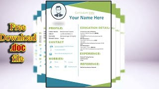 How to Create Perfect CV/Resume in MS WORD with Free .Doc file   Design # 1