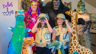 Pretend Play Stuffed Animal Safari with Princess Lollipop, Kate and Lilly!