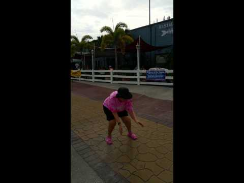 Mom dancing in Shell Factory Parking Lot