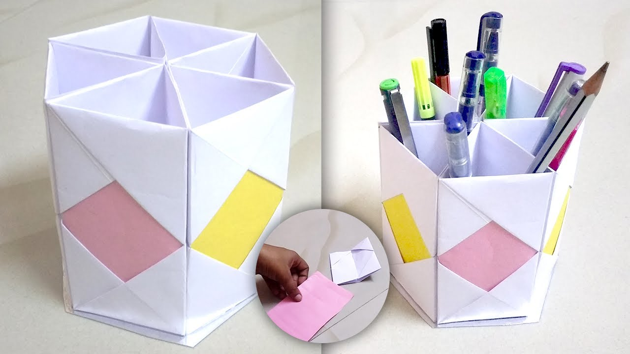 pen stand from waste material origami pen holder pen