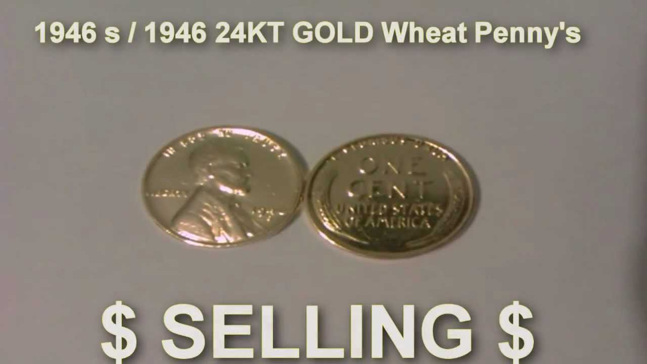 24kt gold plated wheat penny 1946 s 1946 youtube publicscrutiny Images