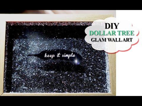 DIY Dollar Tree Glitter Wall Art | Rhinestone Wrap | MOOREGIRL