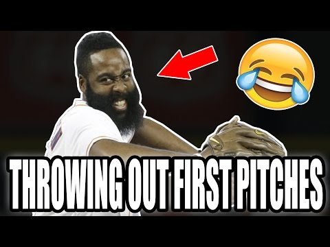 NBA Players Throwing Out First Pitches (HD)