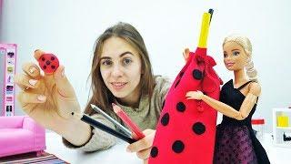 Школьный пенал в стиле Леди Баг для Барби своими руками