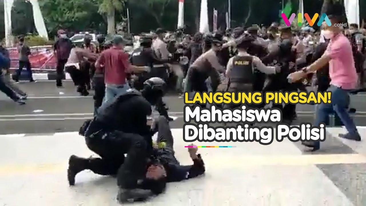 Download Aksi Brutal Polisi Banting Mahasiswa, Habis Bikin Pingsan Langsung Kabur