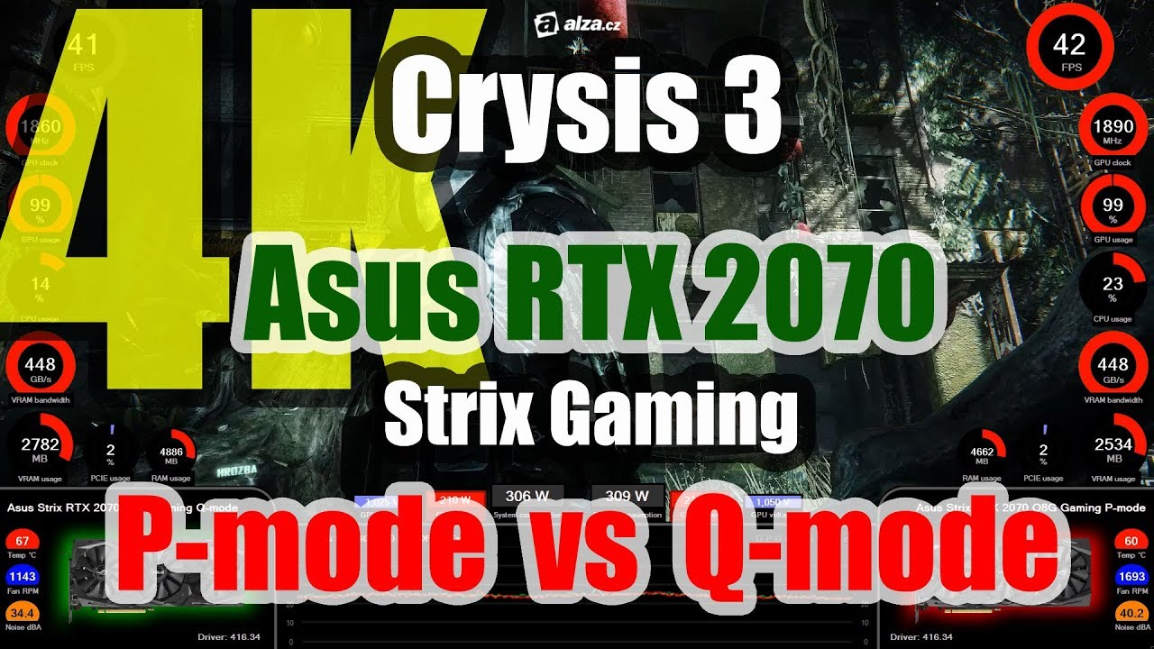 Crysis 3 (4K) - Asus Strix RTX 2070 O8G Gaming P-mode versus Q-mode
