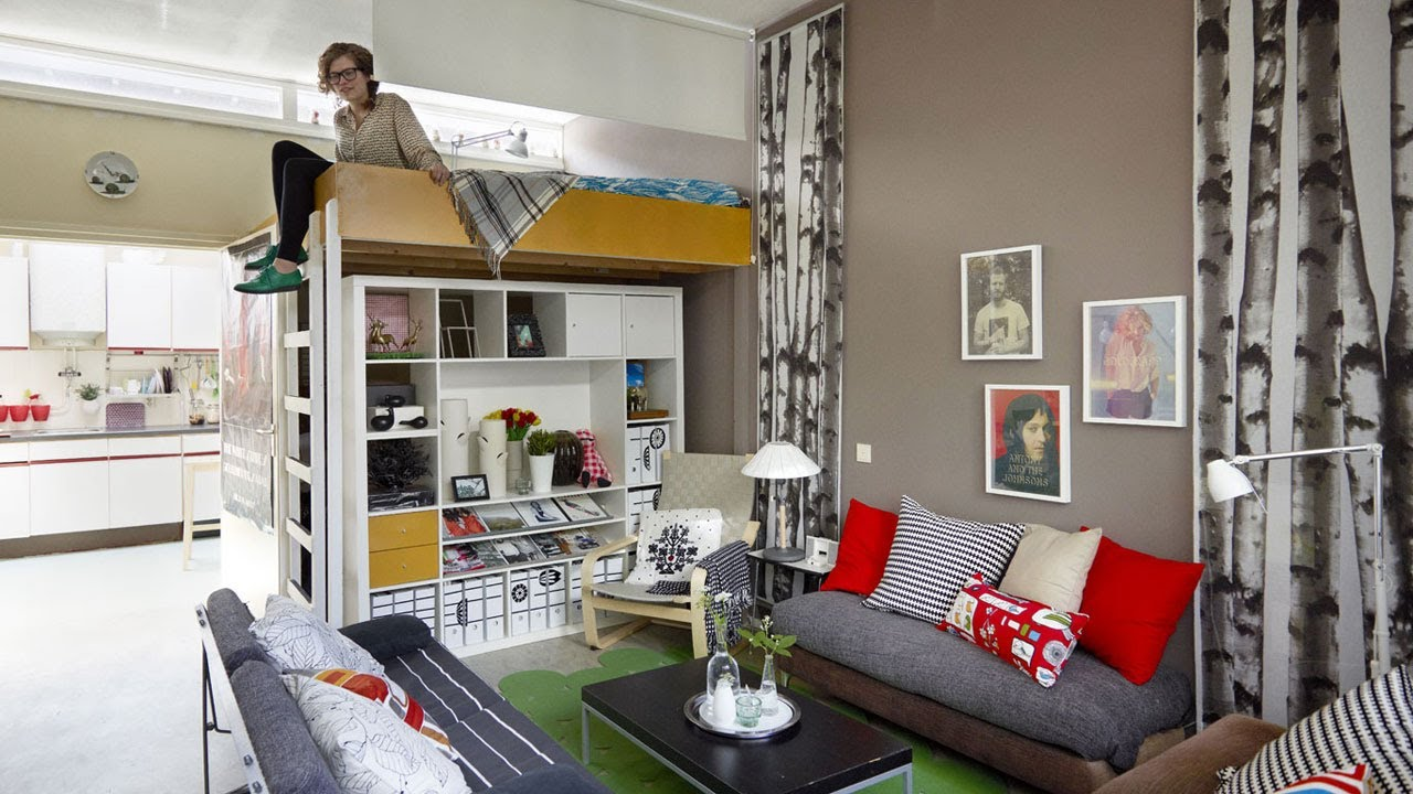 Home tour anne 39 s small apartment in the netherlands youtube for Studio apartment solutions
