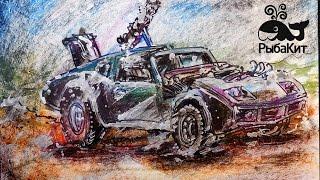 Как нарисовать Машина MAD MAX / Урок рисования для детей / Развивающее видео(Тут вы можете увидеть, как я рисую машину из кино MAD MAX. Разные машины буду рисовать, вспоминая постапокалипс..., 2016-09-09T10:00:03.000Z)