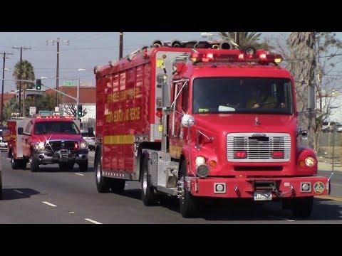 LACoFD Heavy Rescue 103, USAR 103, & RT 103 Responding
