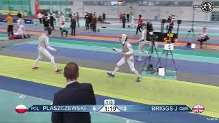 2018 1234 T128 M F Individual Halle GER European Cadet Circuit YELLOW BRIGGS GBR vs PLASZCZEWSKI POL