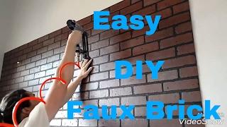 Make a faux brick wall with brick panels. DIY interior design.