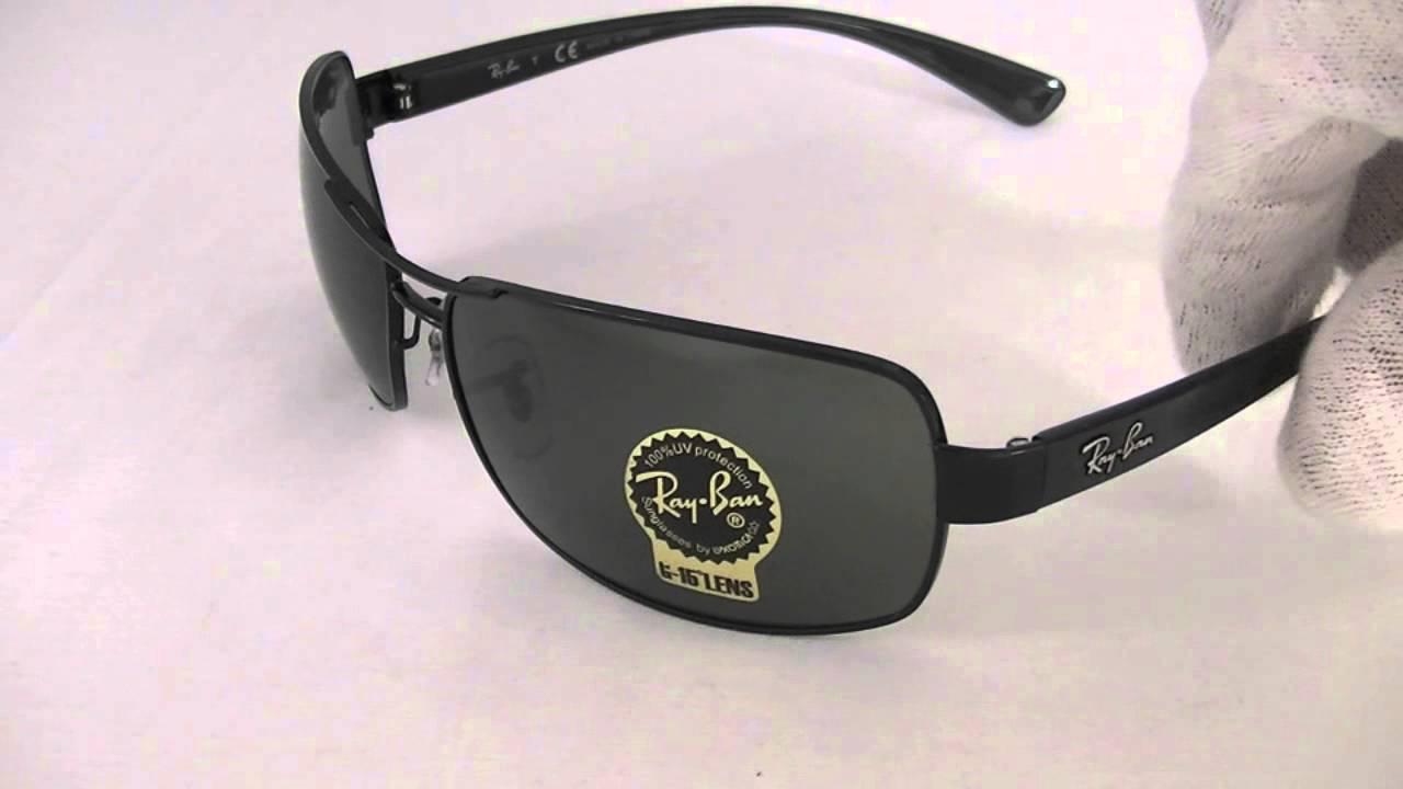 e2387a14a1 Ray Ban Rectangular Sunglasses RB3379 002 - YouTube