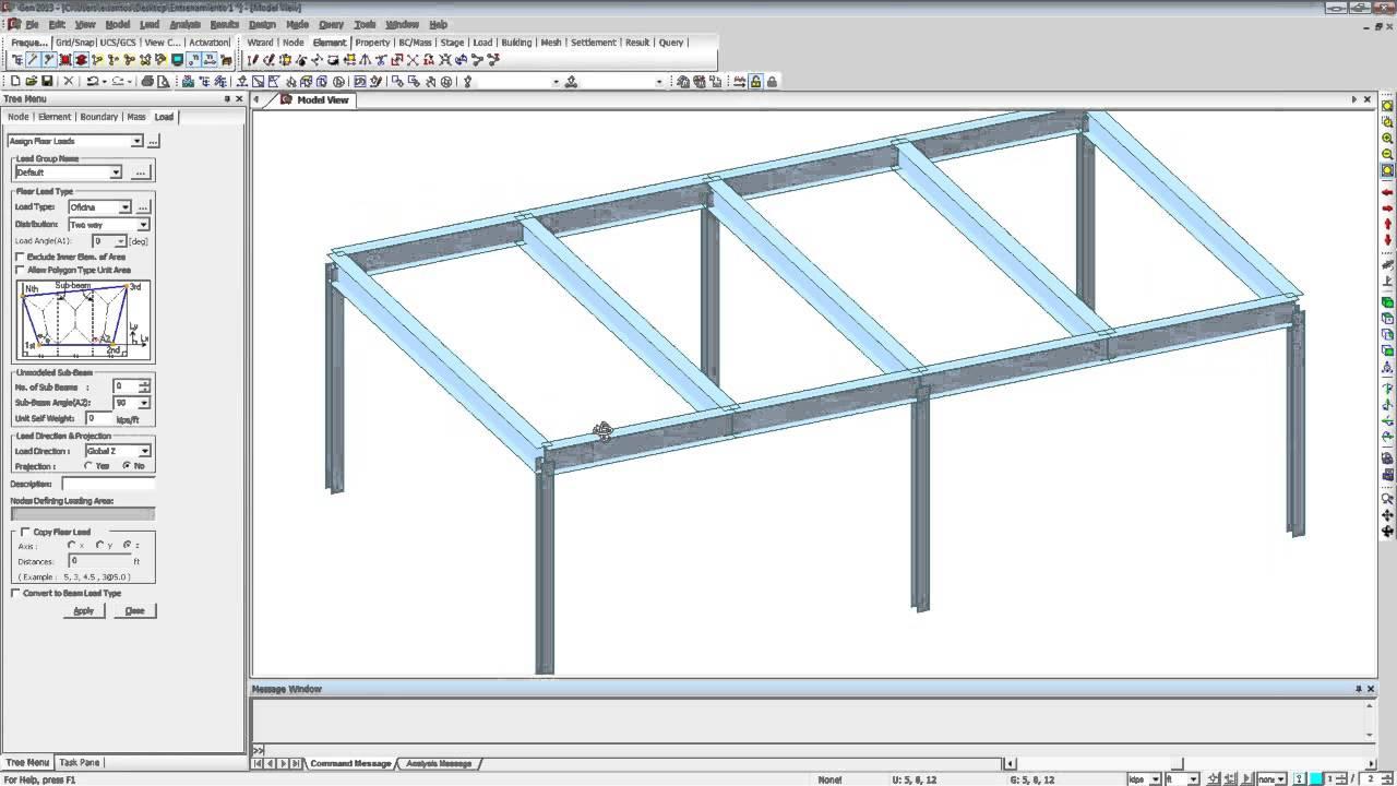 midas Gen - Modelado de marco de acero - YouTube