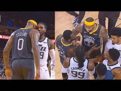DeMarcus Cousins Exchanges Words With Jae Crowder & Confronts Him In Heated! Warriors vs Jazz