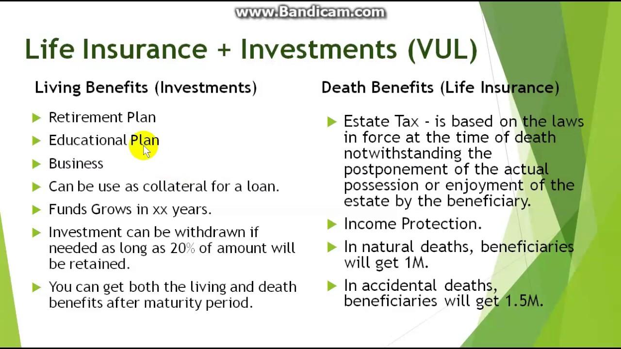 Variable Universal Life Insurance (VUL) - Benipisyo at ...