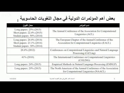 النشر العلمي في  اللغويات الحاسوبية - Computational Linguistics