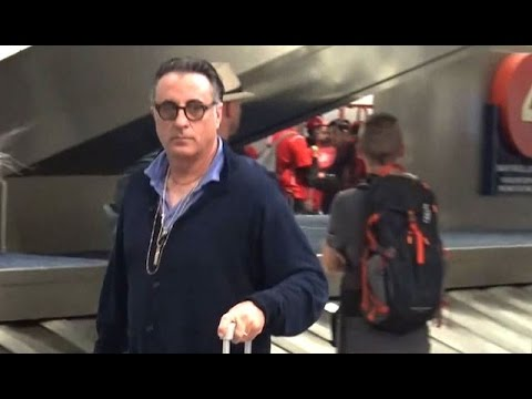 Andy Garcia Takes Time To Chat With  After Landing At LAX