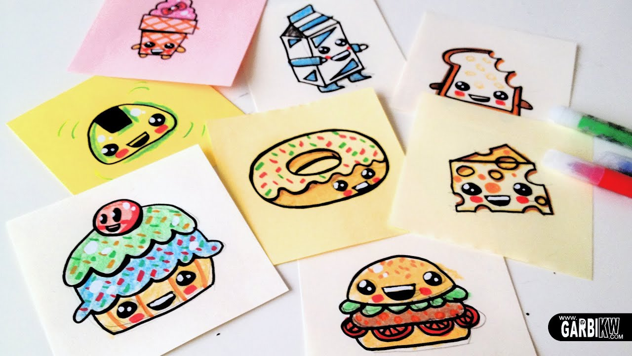How to draw cute food easy and kawaii drawings by garbi kw youtube - Stylish cooking ...