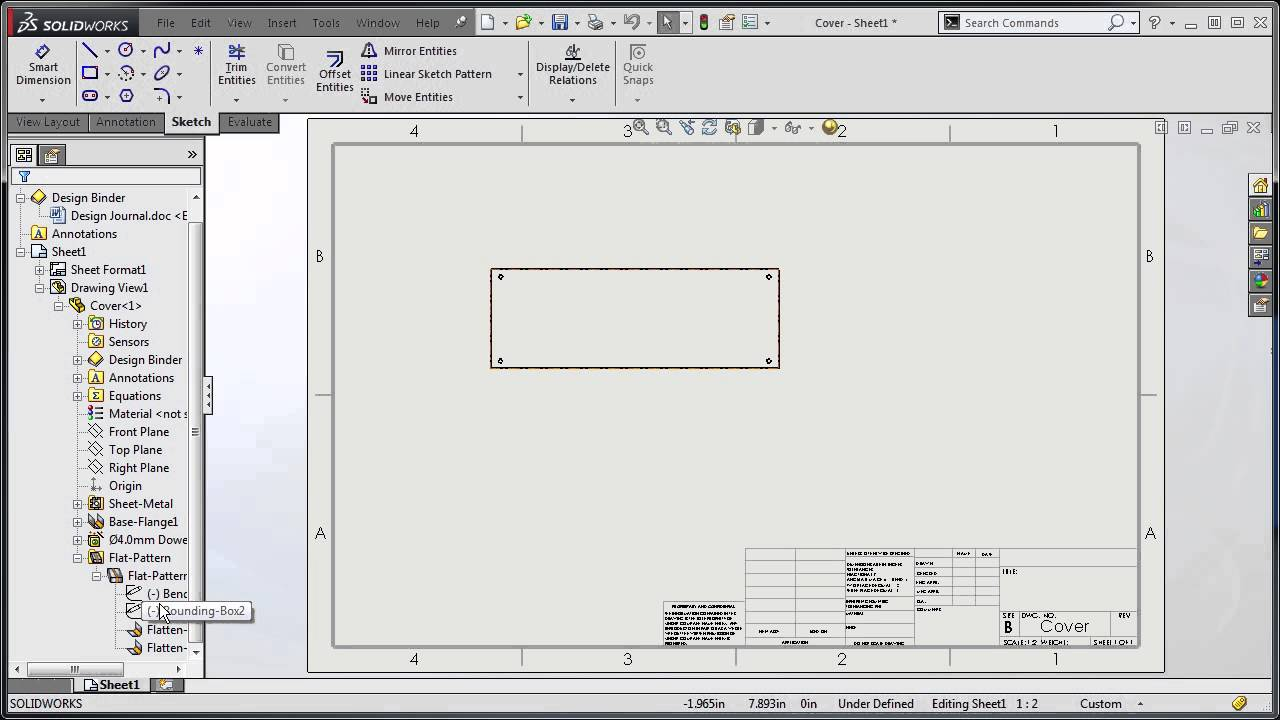 Solidworks 2015 Bend Lines Youtube