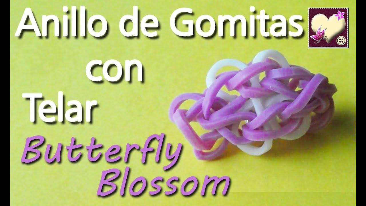 aed06c5d95fc Cómo hacer un anillo de gomitas con telar. Modelo Butterfly Blossom.  Tutorial. DIY.