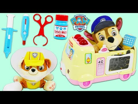 Paw Patrol Pups Chase And Rubble Get Sick And Visit Disney Doc McStuffins Toy Hospital!
