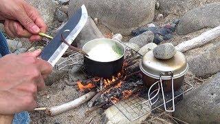 早春の野草採りと焚き火ラーメン