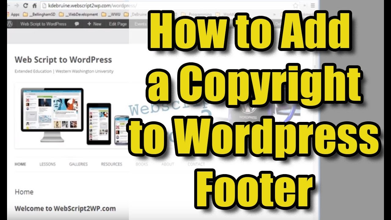 How To Add Copyright Info To Wordpress Footer Youtube