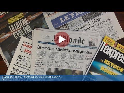 Revue de presse - semaine du 30 octobre 2017 - Polony TV