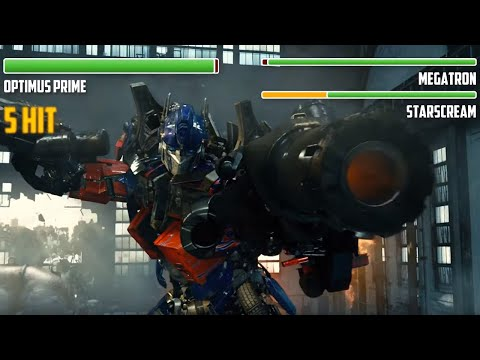 Optimus Prime Vs. Decepticons WITH HEALTHBARS | Forest Battle | HD | Transformers: RotF